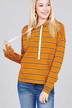 Ladies fashion  long sleeve hoodie w/drawstring stripe french terry top - Creole Couture Boutique