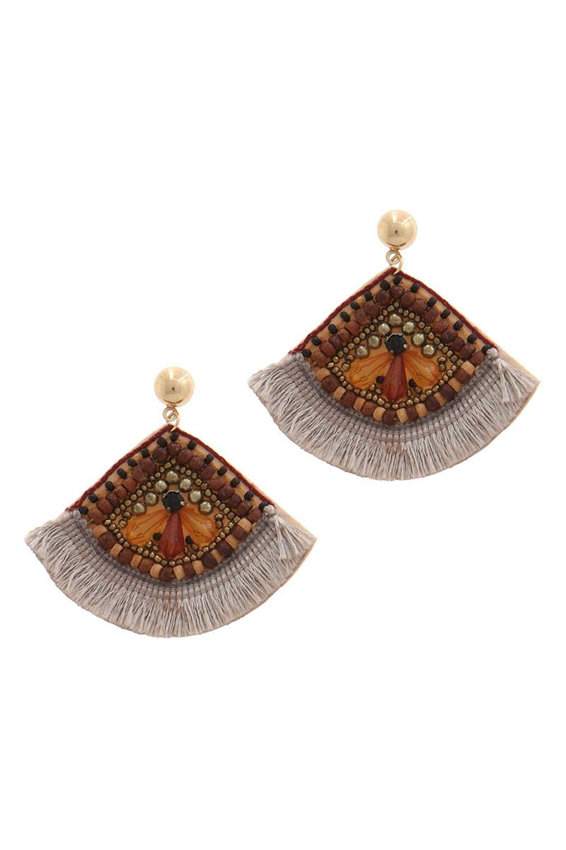 Fan shape post drop earring - Creole Couture Boutique