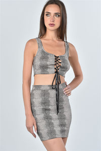 Ladies fashion taupe snake print lace up crop top and mini skirt two piece set - Creole Couture Boutique