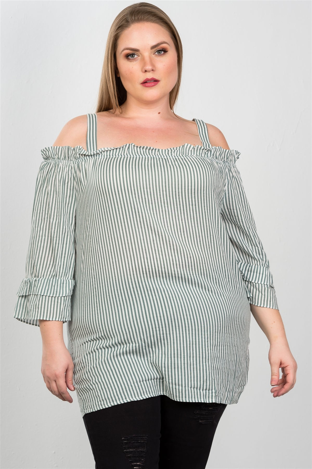 Ladies fashion  boho striped cold-shoulder top - Creole Couture Boutique