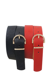 Skinny wide horseshoe buckle duo set belt - Creole Couture Boutique