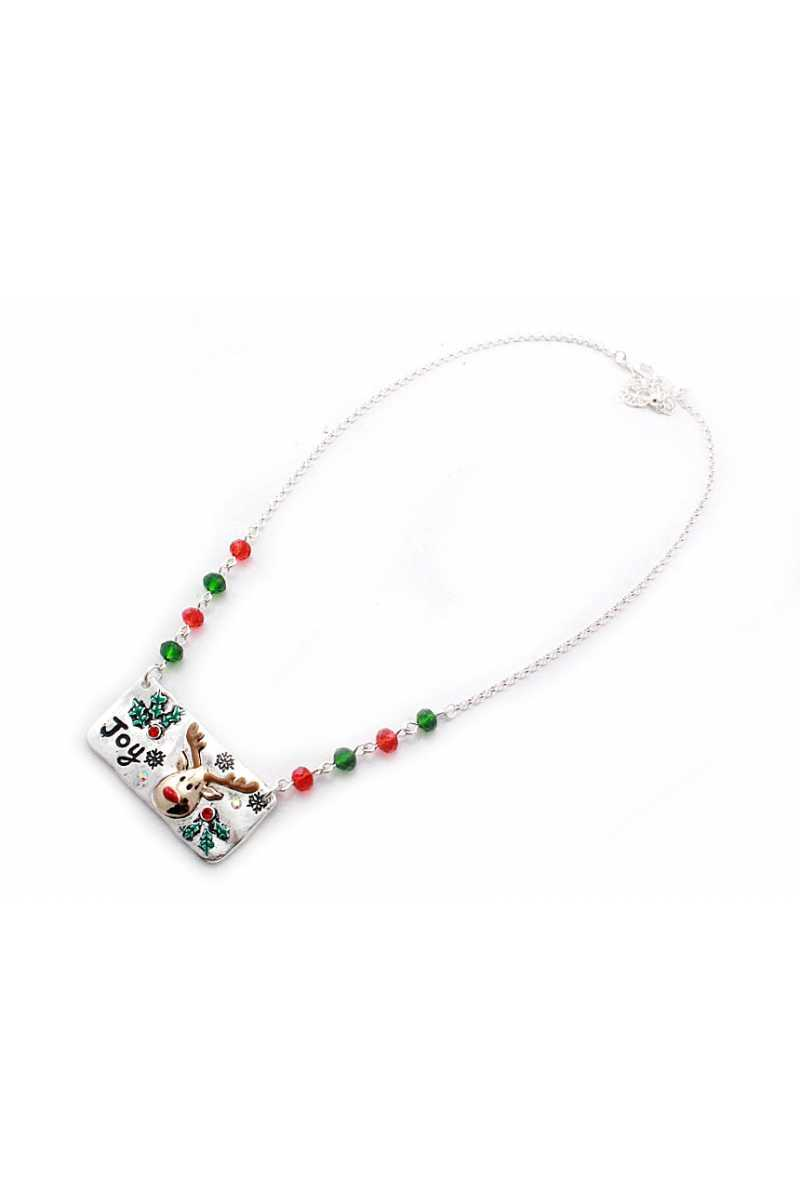 Reindeer metal bar beaded necklace - Creole Couture Boutique