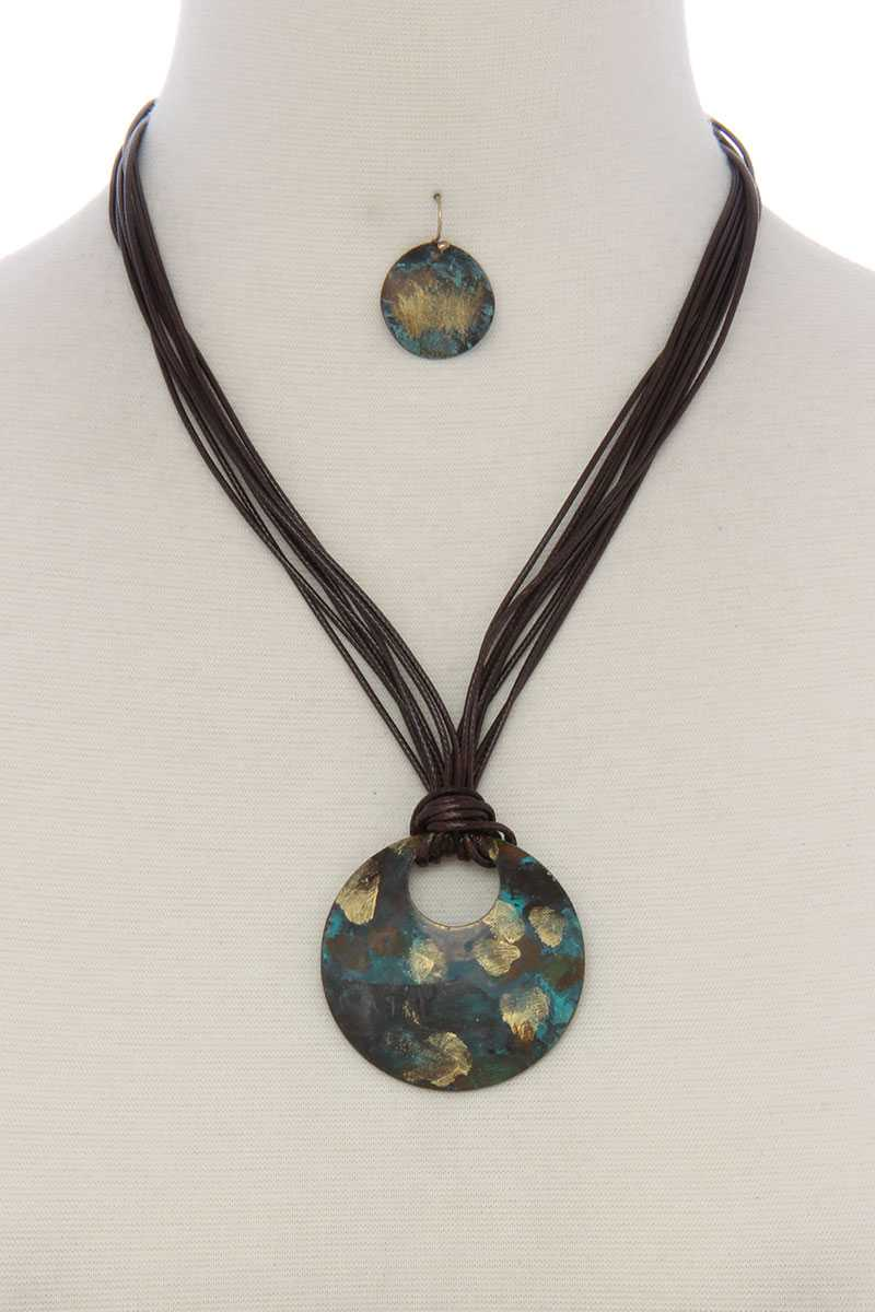 Patina circle multi stand pu leather short necklace - Creole Couture Boutique