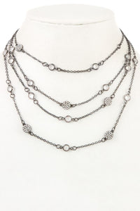 Multi layered crystal gem station necklace - Creole Couture Boutique