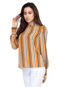 Long smocked sleeve stripe shirt - Creole Couture Boutique