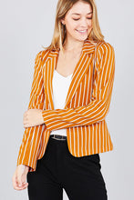 Long sleeve notched collar princess seam w/back slit striped jacket - Creole Couture Boutique