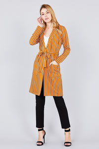Long sleeve notched collar open front striped long jacket - Creole Couture Boutique