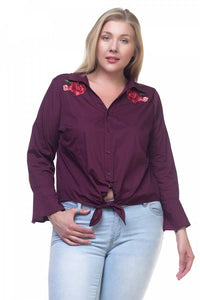 Front tie embroidery shirts - Creole Couture Boutique