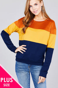 Long sleeve round neck color block pattern brushed french terry top - Creole Couture Boutique