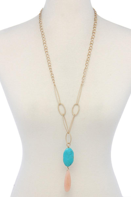 Natural Stone Metal Oval Shape Necklace - Creole Couture Boutique