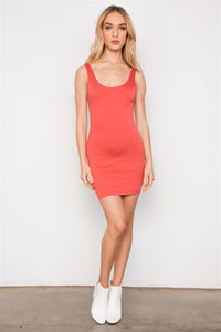 Rust Sleeveless Tank Mini Basic Dress - Creole Couture Boutique
