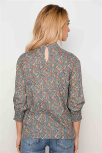 Sage Floral Print 3/4 Sleeves Flounce Boho - Creole Couture Boutique