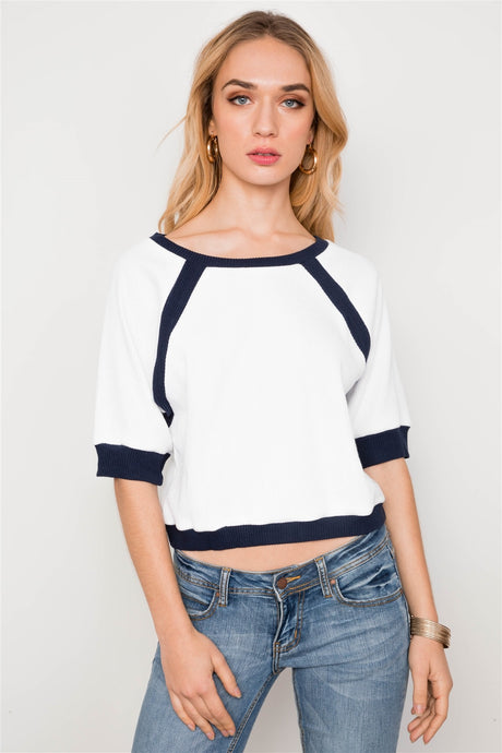Dolmen Sleeve Ribbed Cropped Top
