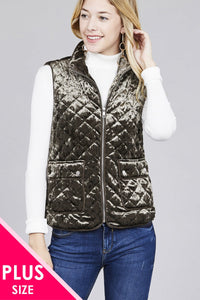 Quilted Padding W/suede Piping Detail Velvet Vest - Creole Couture Boutique