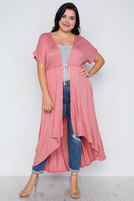 Plus Size Basic High Low Cardigan Cover Up - Creole Couture Boutique