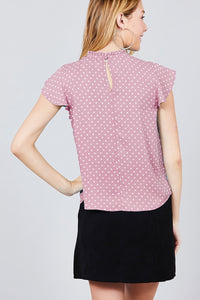 Short Sleeve Ruffle Neck Back Button Dot Print Woven Top - Creole Couture Boutique
