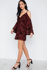 Wine Burnout Velvet Cold Shoulder Tiered Bell Sleeve Mini Dress - Creole Couture Boutique