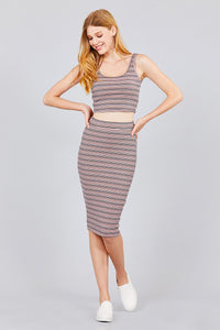 Double Scoop Neck Crop Top Pencil Midi Skirt - Creole Couture Boutique