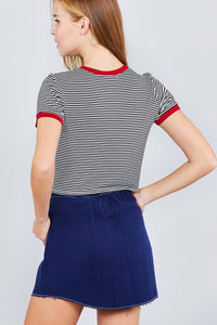 Short Crew Neck W/contrast Binding Front Tie Stripe Rayon Spandex Top - Creole Couture Boutique