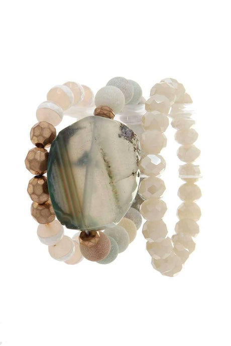 Natural Stone Beaded Stretch Bracelet - Creole Couture Boutique