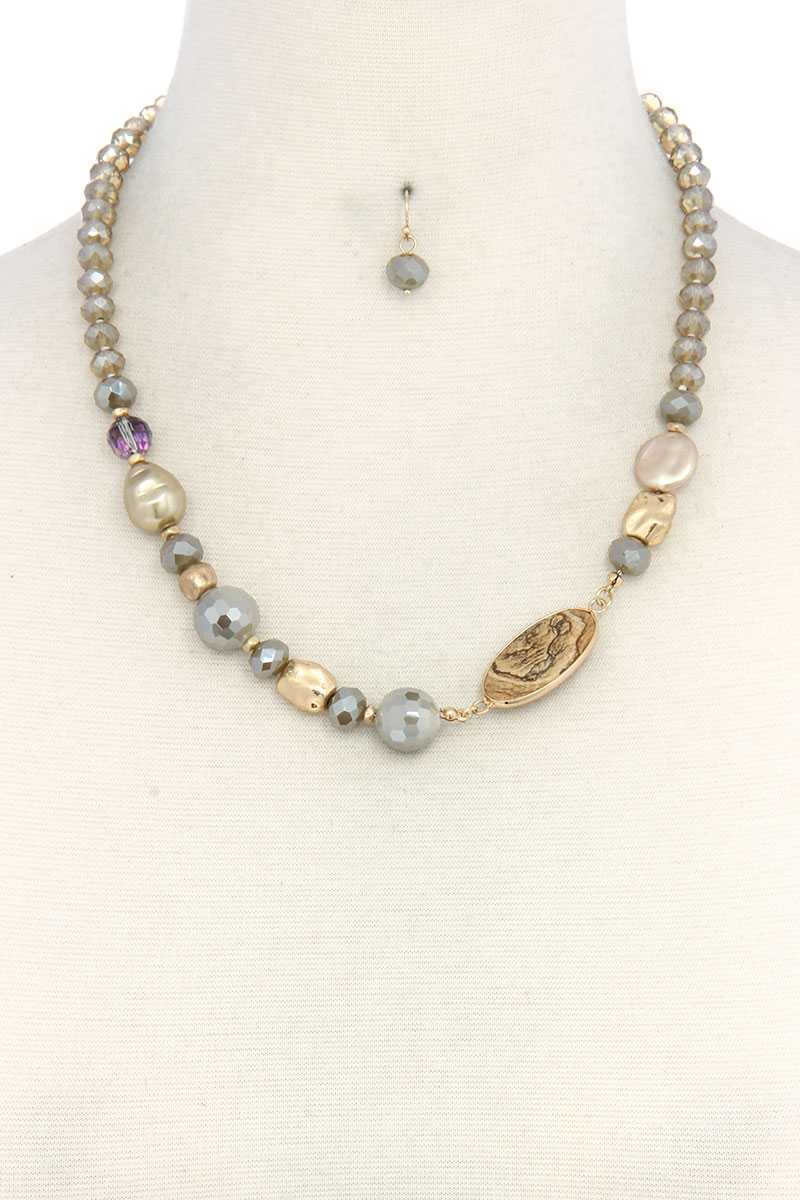 Oval Stone Beaded Necklace/Earrings - Creole Couture Boutique