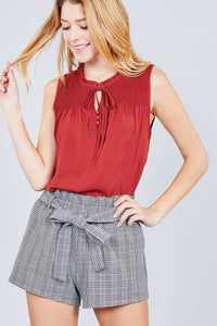 Sleeveless Ruffle Neck W/self Tie Smocked Yoke Detail Front Button Woven Top - Creole Couture Boutique
