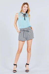 Sleeveless Contrast Tie W/lace Wool Dobby Woven Top - Creole Couture Boutique