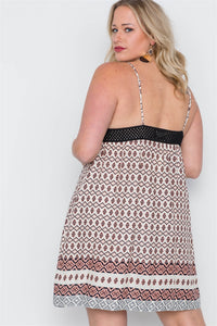 Peach Paisley Print Cami Slip On Mini Dress - Creole Couture Boutique