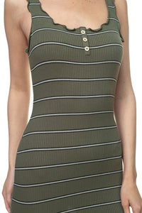Stripe Bodycon Ribbed Dress - Creole Couture Boutique