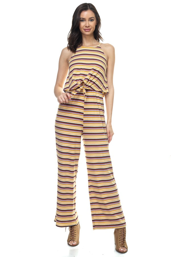 Sleeveless Stripe Jumpsuit - Creole Couture Boutique