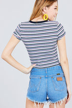 Short Sleeve Crew Neck Multi Stripe Rib Top - Creole Couture Boutique