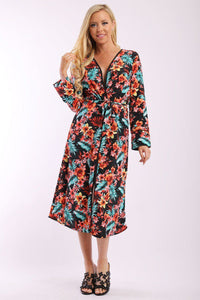 Floral Print Cardigan With Long Sleeves, Open Front, Matching Belt And Contrast Trim - Creole Couture Boutique