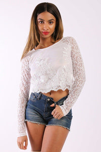Solid Lace Top With Long Sleeves And Round Neck - Creole Couture Boutique