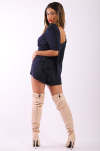 Solid, Short Romper With 3/4 Sleeves, Slits, Lace Up V Neckline And Stretchy Waist - Creole Couture Boutique