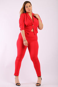 Solid Blazer Coat With High-waist Pant - Creole Couture Boutique