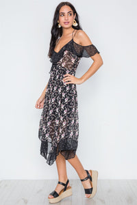Multi Floral Polka Dot Print Flounce Midi Dress - Creole Couture Boutique
