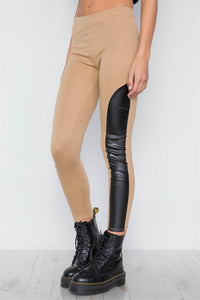 Faux Leather Sides Mid-rise Leggings - Creole Couture Boutique
