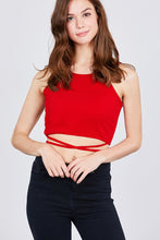 Scoop Neck W/back Cross Strap Detail Waist Self Tie Ribbed Cotton Spandex Crop Top - Creole Couture Boutique