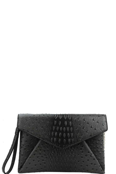 Designer Croc Texture Envelope Clutch With Chain - Creole Couture Boutique