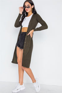 Button Front Long Line Cardigan - Creole Couture Boutique