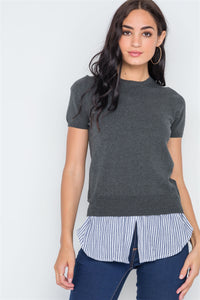 Short Sleeve Combo Stripe Sweater - Creole Couture Boutique