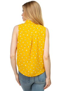 Floral Ditsy Knotted Sleeveless Top - Creole Couture Boutique