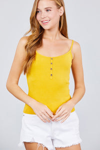Round Neck W/button Down Rib Cami Top - Creole Couture Boutique