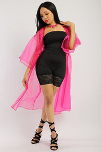 Solid, Organza Chiffon Cardigan With Open Front, Kimono - Creole Couture Boutique