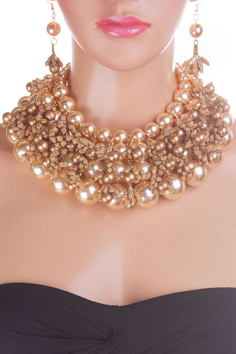 Pearl And Metallic Beads Chunky Necklace - Creole Couture Boutique