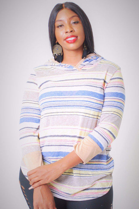 Striped, Hip Length Hoodie Top - Creole Couture Boutique