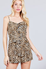 V-neck Button Detail Animal Print Cami Romper - Creole Couture Boutique