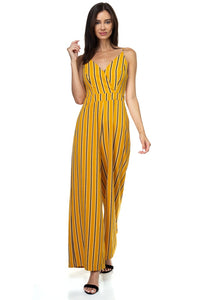 Stripe Back Self-tie Jumpsuit - Creole Couture Boutique