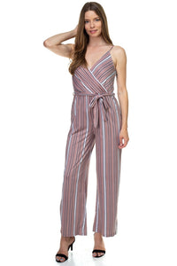 Sleeveless Stripe Waist Tie Jumpsuit - Creole Couture Boutique