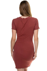 Ribbed Button Trim Mini Dress - Creole Couture Boutique